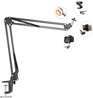 Overhead Tripod Mount for Camera Webcam Ring Light, Flexible Over Head Arm for iPhone with Phone Holder and Ball Head, Tab...