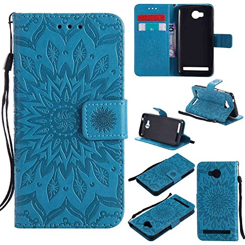 pinlu® PU Leder Tasche Etui Schutzhülle für Huawei Y3 II Lederhülle Schale Flip Cover Tasche mit Standfunktion Sonnenblume Muster Hülle (Blau)