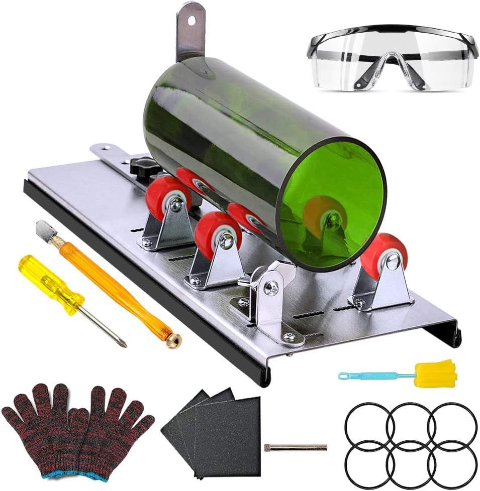 AmazeFan - Cortador de cristal para botellas, cortador de botellas de acero inoxidable con 5 ruedas ajustables, cortador de cristal, juego de cortador de botellas, para candelabros de cristal