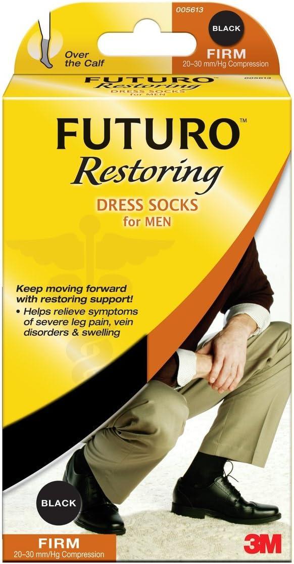 Futuro Support Socks Men's Dress Socks, Black, Large, Firm, 1-Pair Boxes (Pack of 2)