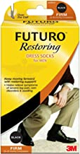 FUTURO Lifestyle Compression Dress Socks For Men Firm Large Black 1 Pair
