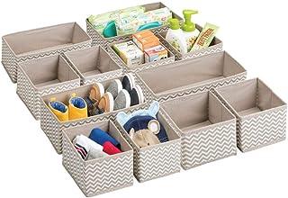 comprar comparacion mDesign Juego de 12 cajas organizadoras para el cuarto de los niños - Organizadores para armarios para artículos de bebé -...