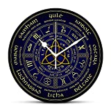 Dadidyc Wheel of The Year Print Round Clock Silent Non-Ticking Wall Clock Desk Clock Unique Decorative for Home Living Room Bedroom School Clock 14in