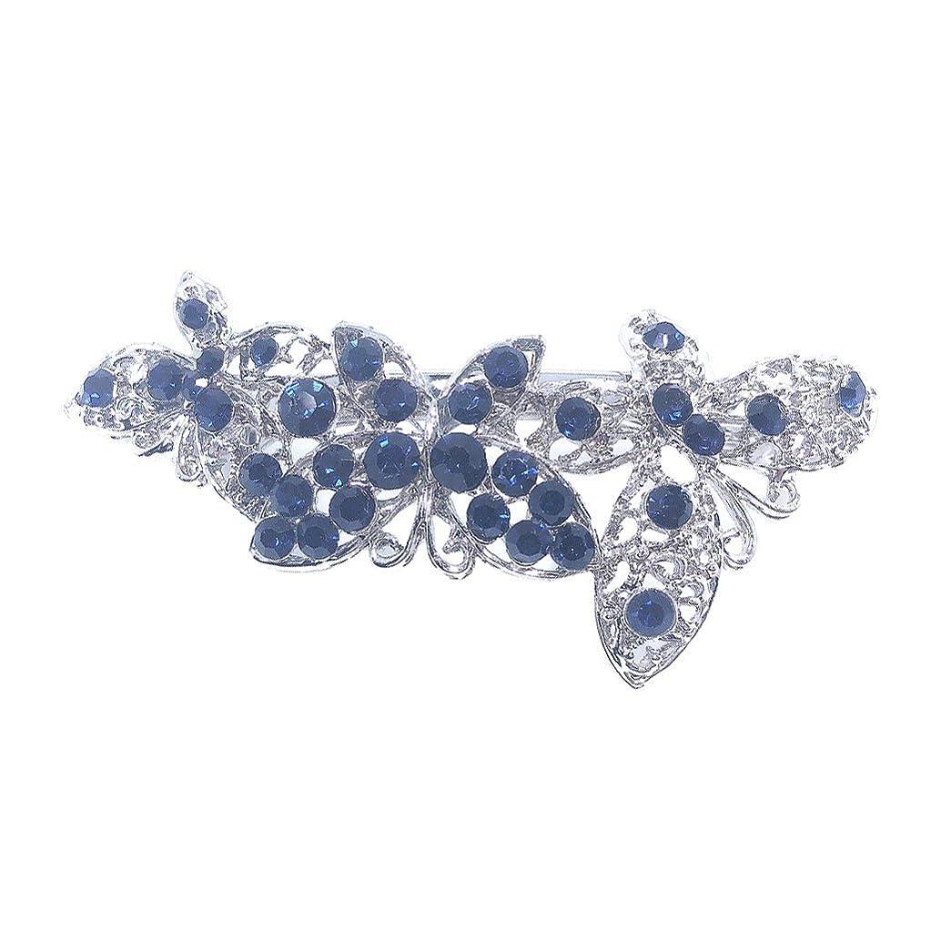 期待するパンフレット債務GUANG-HOME 結婚式のページェント帽子青いファッション蝶ラインストーンの髪のバレッタ
