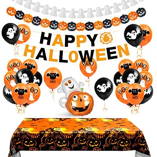 Aurasky Palloncini Feste Halloween Set, Decorazioni Halloween Casa, Tovaglia di Halloween, Halloween Decorazioni Horror, Festone Happy Halloween, Zucca Gigante, Ghirlande di Zucche e Fantasma
