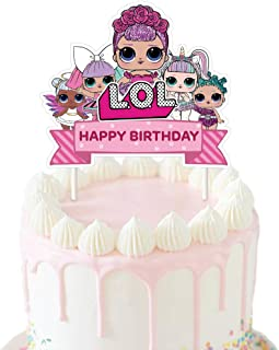 LOL Cake Topper, Happy Birthday Cake Toppers, Cake Pink Decorations for Bday Theme Party - Single Side 1 count