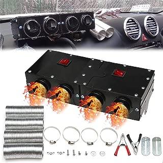 blue--net 12V 800W Car Vehicle Fan Heater, 4 Port Professional Portable Car Windscreen Demister Defogger Compact Air Heater Heating Warmer Car Heater Defroster
