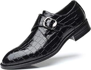 XIGUAFR Chaussure en Cuir Brillant d'uniforme Habillée d'affaire Commercial Homme Basse Chaussure a Enfiler de Ville en Mo...