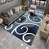 Kunsen Decoracion de Salones alfombras de Pasillo Alfombra de Sala de Estar Azul Rectangular Moderno Dormitorio decoración sin Pelo diseño alfombras Exterior Jardin 200X300CM 6ft 6.7' X9ft 10.1'