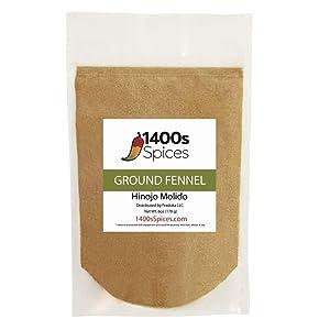 6oz Ground Fennel Seed (Semillas de Hinojo Molido), Foeniculum vulgare. Heat-Sealed Bag.