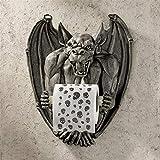 Design Toscano CL56600 Holder-Flush The Gargoyle Toilet Paper Roll-Bathroom Wall Decor, Gothic Stone