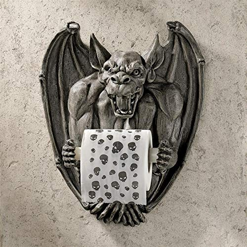 Design Toscano CL56600 Holder-Flush The Gargoyle Toilet Paper Roll-Bathroom Wall Decor, Gothic Stone