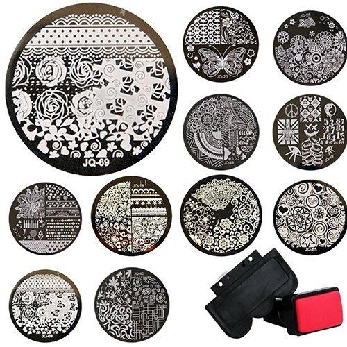 Ogquaton Qualité Premium 10 Pcs Nail Art Modèles + 1 Stamper + 1 Grattoir Estampage Kits Plaques En Métal Rondes Outils Nail DIY, Modèles Aléatoires
