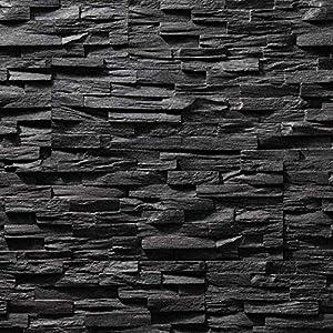 Paneles de poliestireno expandido/Benevento negro/revestimiento de piedra/decoración para paredes/azulejos/revestimiento para paredes (negro)