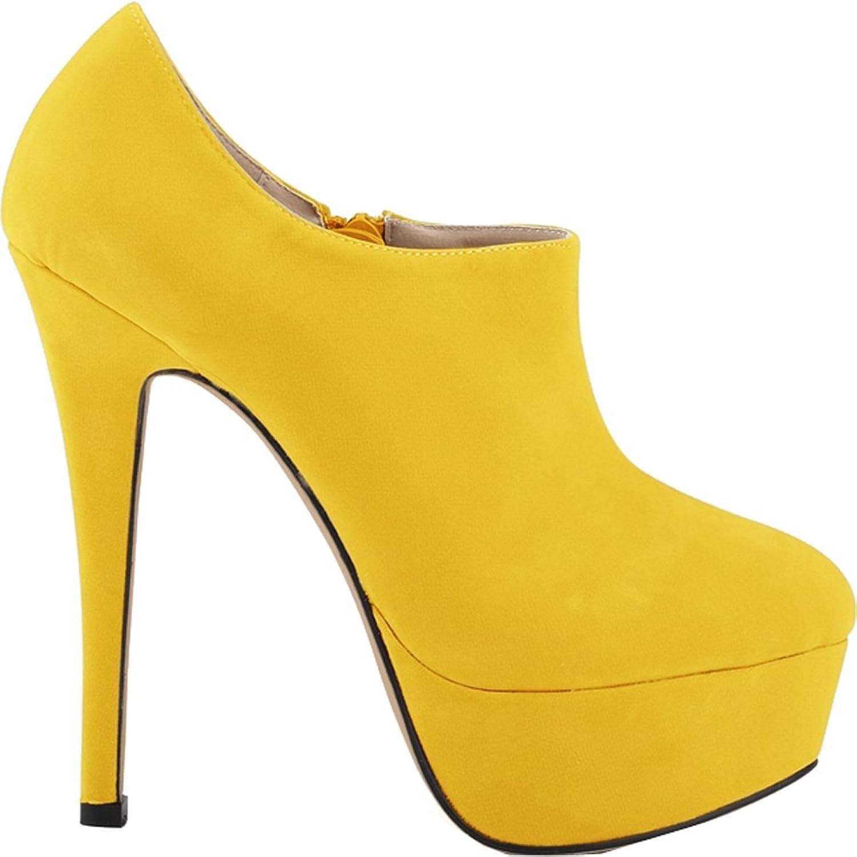 Vimedea Womens Thick Platform Round Toe Zipper Stiletto Spike Pumps Court shoes 817-3RB