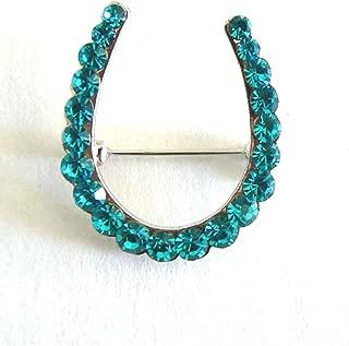 Silk Salon Lucky Horseshoe Brooch Pin Rhinestone Crystal Jewelry Silver Blue Green