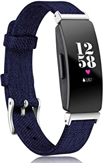 Maledan Bands Compatible with Inspire HR & Inspire & Inspire 2 Women Men, Woven Fabric Accessories Strap Wrist Band Compatible with Inspire 2, Small, Dark Blue