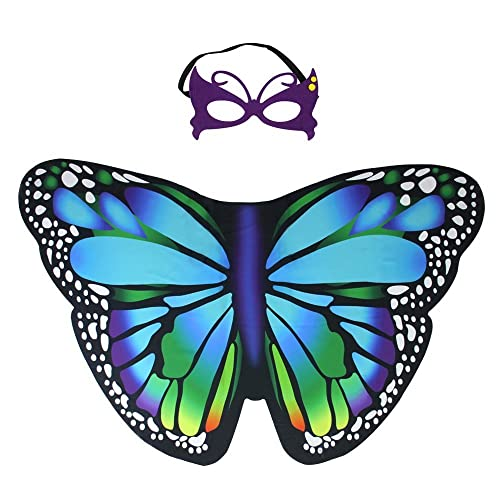 c5d03c759aecd Kids Fairy Butterfly Wings Costume and Mask for Toddler Girls Dress up  Pretend Play Birthday Party