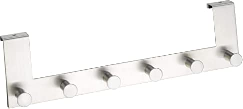 WENKO 4468060100 Attaccapanni da Porta in acciaio inox Celano con 6 Ganci, per spessori per ante fino a 2 cm, Opaco, Argento 5,5 x 11 x 39 cm