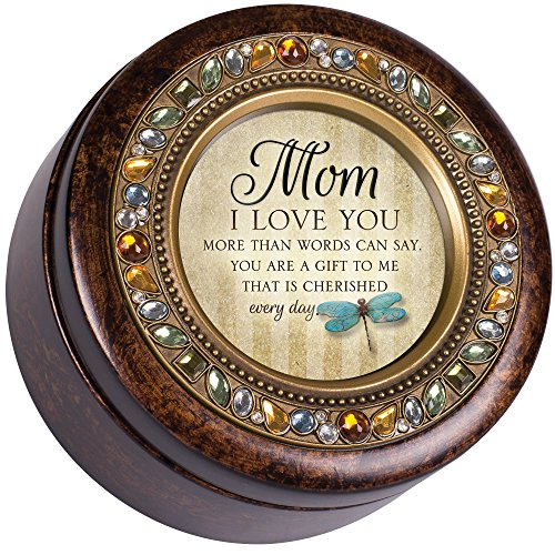 Mamá I Love You cada día Jeweled ámbar Earth Toned redonda caja de música Reproduce Wind Beneath My Wings