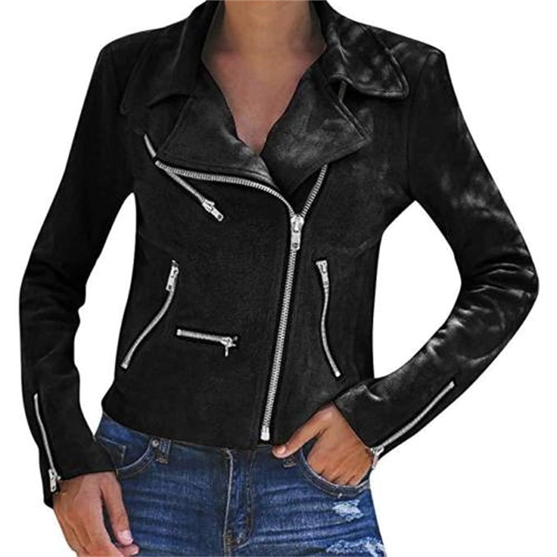 Faux Leather Short Jacket Women Motorcycle Casual Coat Zipped Notch Collar Moto Biker Jacket (XX-Large,Black)