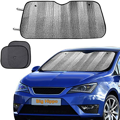 "Big Hippo Windshield Sun Shade, Car Window Shade as Bonus Keep Vehicle Cool Protect Your Car from Sun Heat & Glare Best UV Ray Visor Protector (Size: 55.16""X 27.5"")"