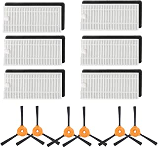Yonice 6 Hepa Filters & 6 Side Brushes for Ecovacs Deebot N79 N79S DN620 DN621 DN622