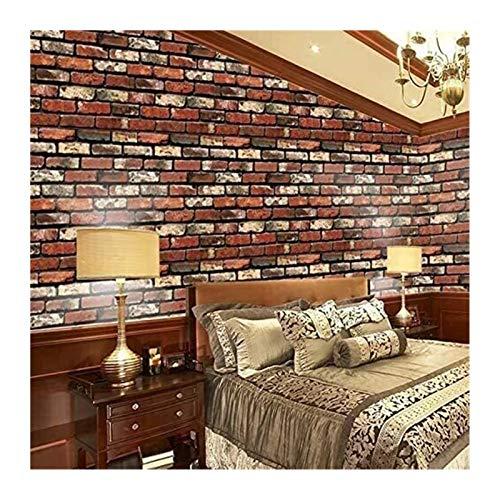 UUPA Papel Pintado Pegatinas de Pared Ladrillo de Piedra Impermeable Autoadhesivo para Dormitorio Sala de Estar Decoración del Hogar (Color : Red, Size : 10m/53cm)