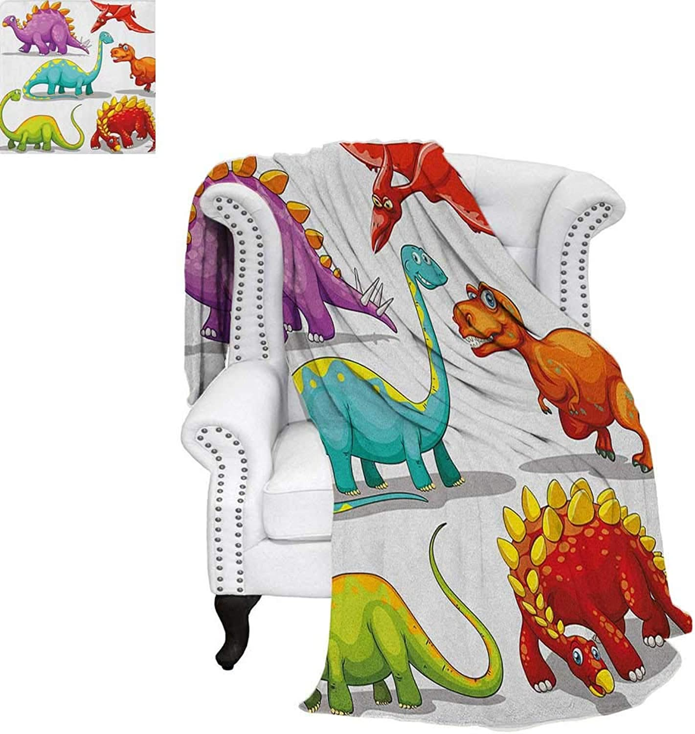 Dinosaurfluffy blanketcolorful Funny Different Dino Collection Friendly Wildlife Extinct Animals Ice Agebed Blanket 60 x50  Multicolor