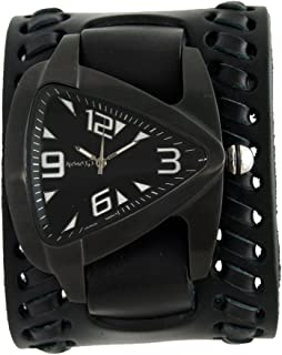 Black Oversized Teardrop Watch with Faded Black Wide Weaved Vintage Style Leather Cuff Band, VBK061K