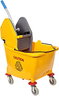 Moonlight Mop Bucket with Wheel and Wringer - 32 Liters, Yellow