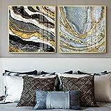 KK Timo 60 x 60 cm cuadrado de porcelana pintura abstracta de lujo mural dorado marco de fotos de hotel, hogar, sala de estar, decoración de pared 2 piezas/set