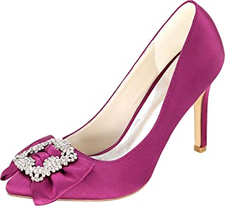 Vimedea Womens Pointy Toe Rhinestone Dress Wedding Heeled Pumps Court Slip On 0608-27