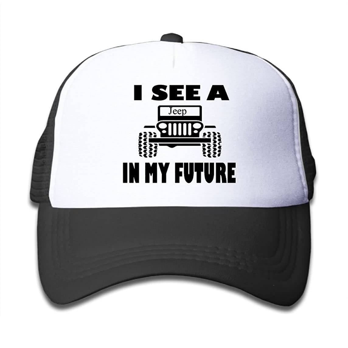 I See A Jeep In My Future Mesh Hat Trucker Style Outdoor Sports Baseball Cap With Adjustable Snapback Strap For Kid's Pink