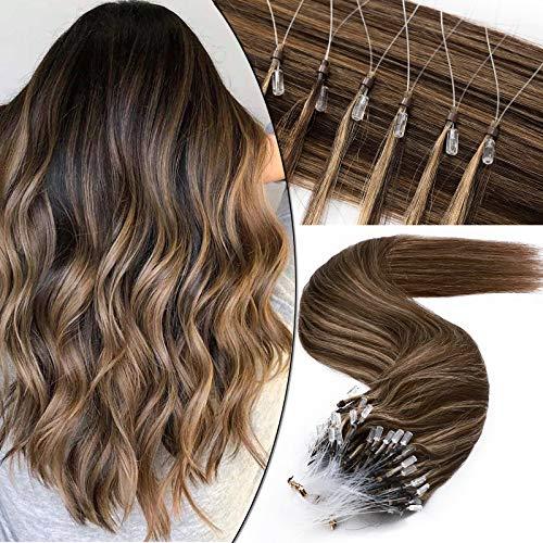 Microring Extensions Echthaar Haarverlängerungen Micro Loop Bondings Human Hair Mittelbraun/Honigblond #4p27 20'(50cm)-50g