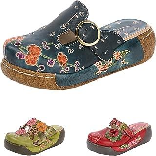 Mordenmiss Women's Leather Slipper Vintage Handmade Slip-Ons Flowers Boho Platform Flat Sandals