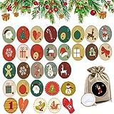 Xiuyer 360pcs Adesivo Calendario Dell'Avvento Calendario Natale 1-24 Adesivi Numeri Più Colori Diametro 4.5cm Decorazioni Natalizie