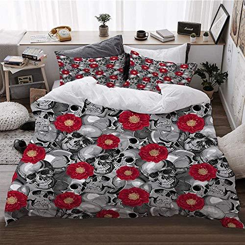 Juego de ropa de cama de 3 piezas y 2 fundas de almohada (220 x 230 cm) con diseño de calaveras de Vector sin costuras