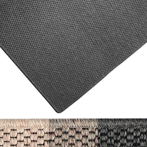 casa pura Moderner Teppich in Premium Sisal Optik | ausgezeichnet mit GUT-Siegel | pflegeleichtes Flachgewebe | viele Größen (anthrazit, 140x200 cm)