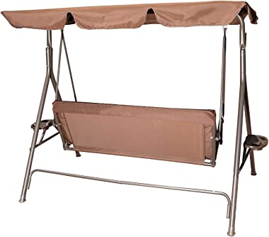 GOLDSUN Durable Outdoor 2-Seat Swing with Teapoy Weather Resistant Canopy Powder Coated Steel Frame Swinging Hammock with Rem