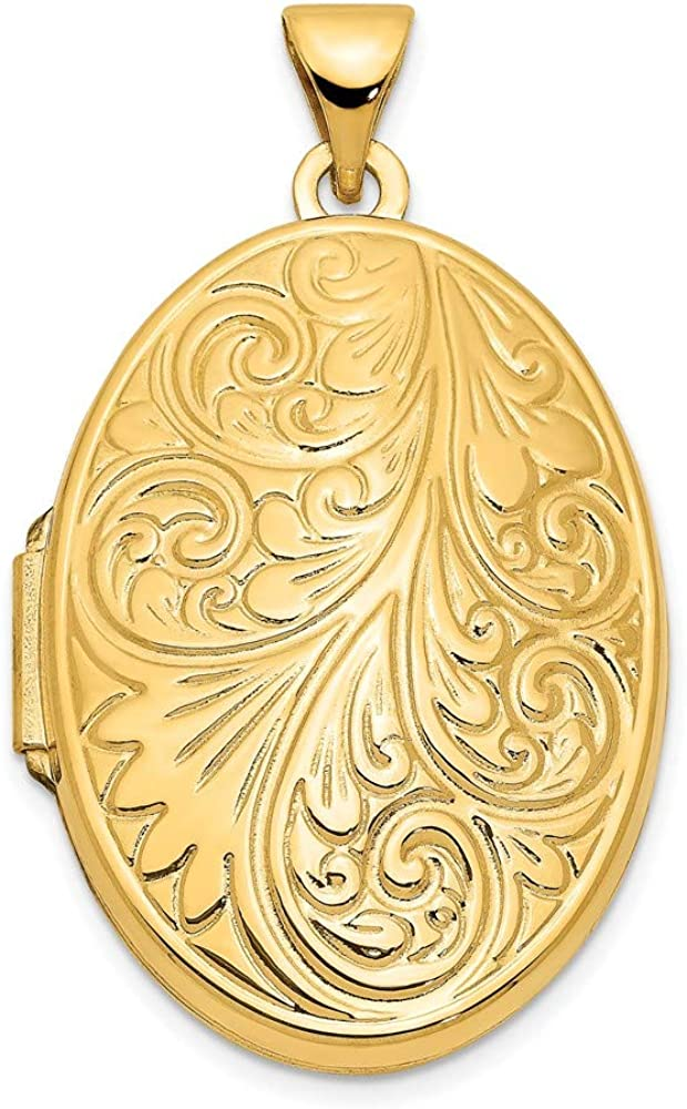 14k Yellow Gold Scroll Oval Photo Pendant Charm Locket Chain Necklace That Holds Pictures Fine Jewelry For Women Gifts For Her