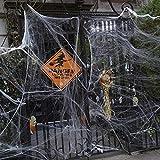 100g Halloween Dekoration Spinnennetz, 100g Dehnbaren Spinnennetzen und 100 Schwarzen Horrorspinnen Für Halloween Party Props - 9