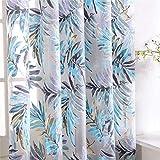 PENVEAT - Cortinas de Tul Tropicales con diseño de Hojas de Flores para salón, Cocina, Dormitorio, Ventana, Color Azul, 100 x 200 cm