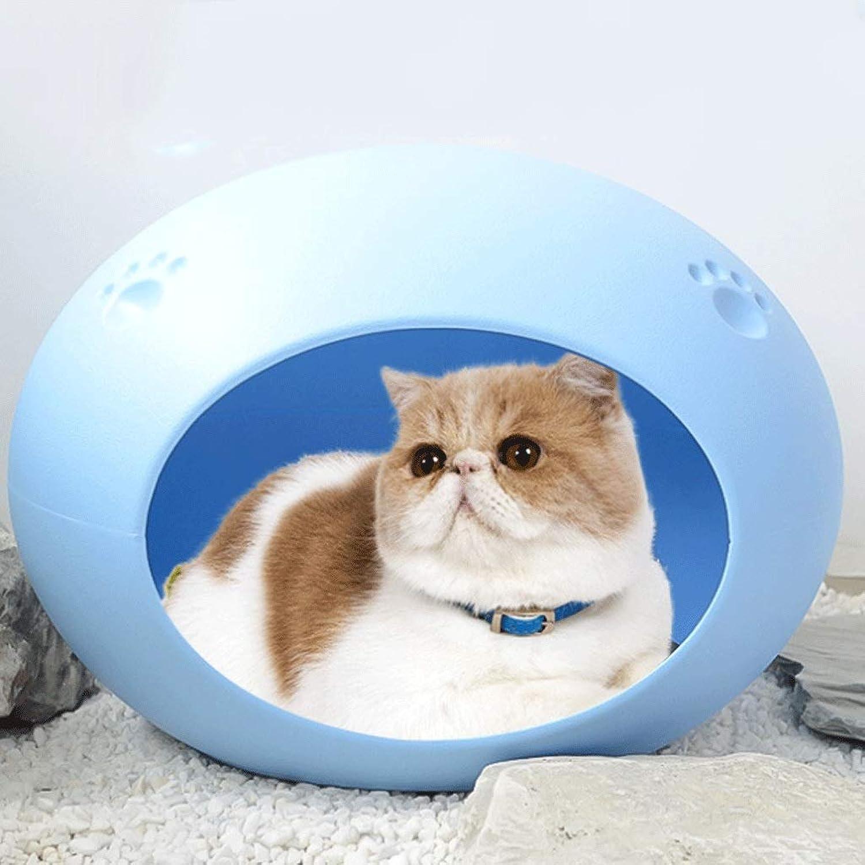 Oval Pet Nest Environmentally Friendly Resin Removable Cat Litter Pet Supplies Four Seasons Universal Comfortable Pet Nest (color   bluee, Size   59X42X43CM)