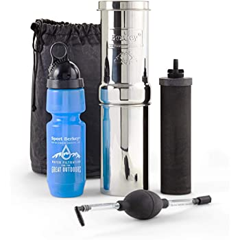 Go Berkey Kit (1 qt.) Water Filter with Black Berkey Primer and Sport Berkey Bottle (22 oz.)