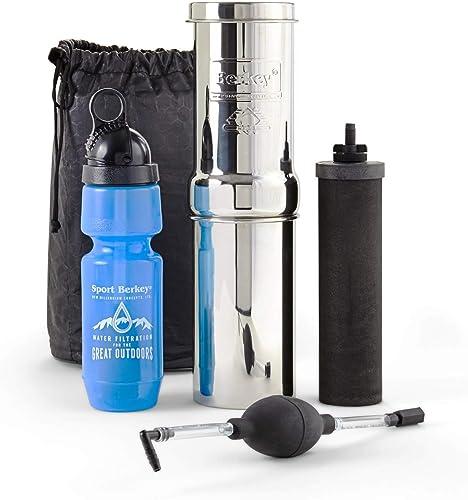 Berkey 1 Go Kit Qt. Purificateur d'eau avec 1 élément Berkey Générique-Noir et 1 bouteille de Sport en Nylon