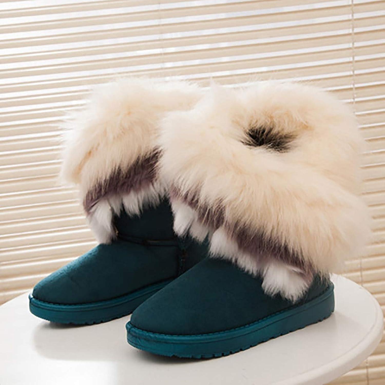 Winter Snow Boots, Thick Fluffy Fox Fur Waterproof Non-Slip Warm Cotton Boots,Green,38