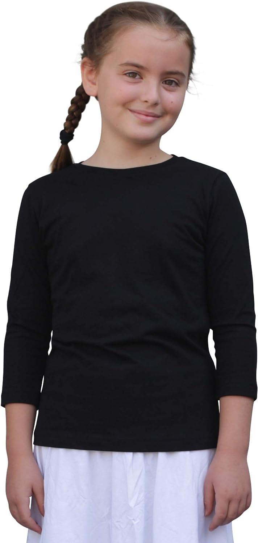 Kosher Casual Kids' Big Girls Modest 3-4 Sleeve 100% Cotton Tee Shirt Top
