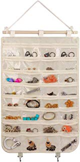 BB Brotrade Hanging Jewelry Organizer,32 Clear PVC Pockets Wall Jewelry Storage with 2 Metal Hooks for Holding Jewelries (Beige)