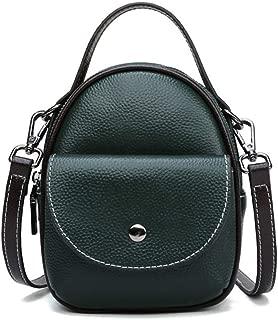 Portable New Solid Color Genuine Leather Handbag Lychee Pattern Cowhide Shoulder Slung Mobile Phone Bag Handbag Shoulder Bag Messenger Crossbody Bag (Color : Green)